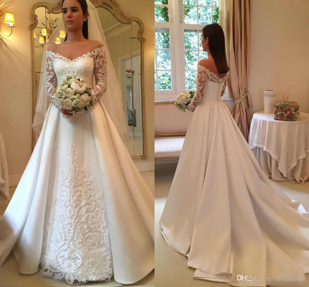 f2d3ed4d9b93b Cheap Satin Ivory A Line Wedding Dresses Elegant Off Shoulder Illusion Lace  Sleeve Robes Appliques Bridal's Country Garden Gowns From China