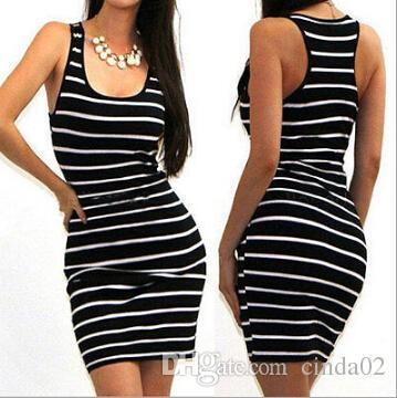 2863c226bb414 Charm2019 Sleeveless Women Black And White Stripe Crew Neck Female Bodycon  Dresses White Dress Womens Short Long Dress From Westcoast