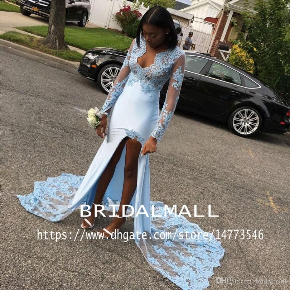 Sexy V Neck Light Blue High Low Prom Dresses Sheer Long Sleeve Formal Party Gowns High Slit Evening Pageant Dress Vestido de fiesta