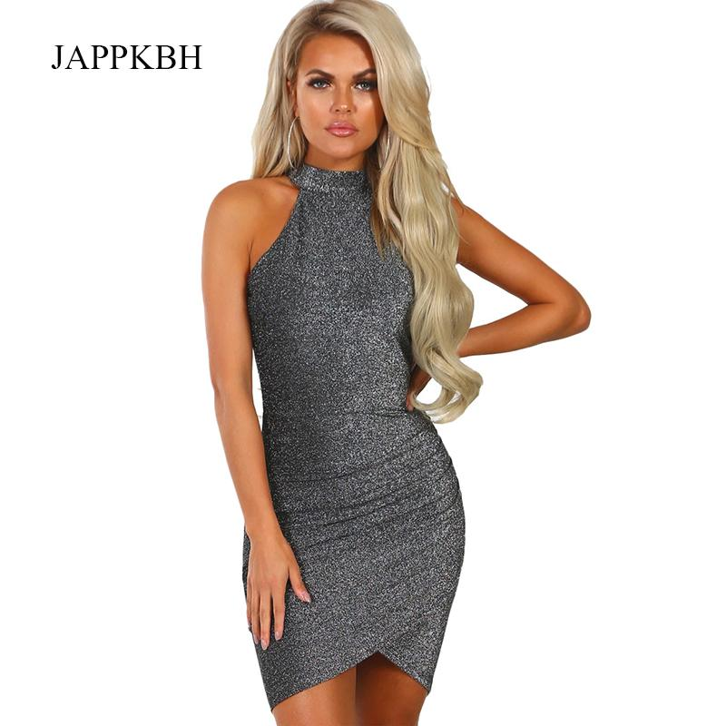 JAPPKBH Summer Spring Glitter Bodycon Dress Women Elegant Solid Party  Dresses Sexy Halter Clothes Club Sequin Mini Dress Vestido Cheap Prom  Dresses Cheap ... 1cc66e71c9d3