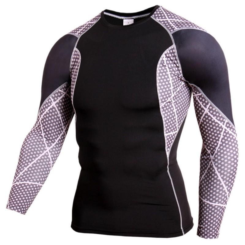 689903eb9 Compression Baselayer Men Fitness Long Sleeve Muscle Bodybuilding ...