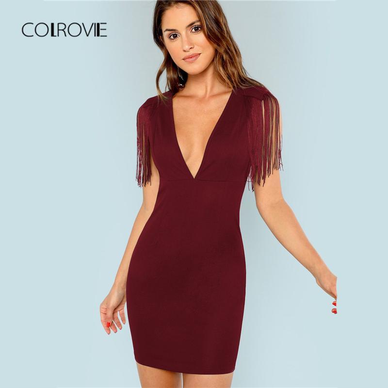 15ca6d7e9799fb COLROVIE Rouge Solide Col En V Frange Orné Robe De Soirée Femmes 2018  Vintage Sans Manches Mini Robe Sexy Moulante Dames Robes