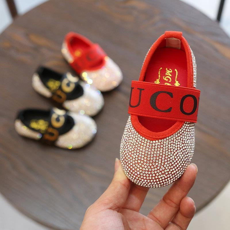 2018 Autumn New Pattern Girl Rhinestone Decorate Princess Shoe Children  Single Small Leather Shoes Soft Sole Slip On Toddler Dress Shoes For Boys  Gold Kids ... c9f54ce9a2f2