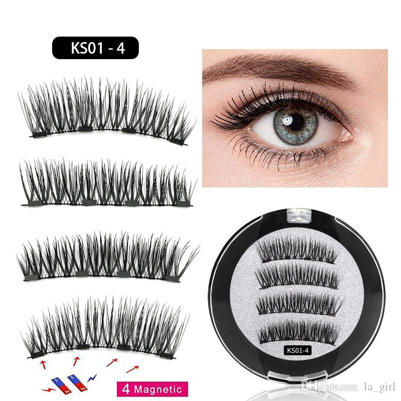 a697f21302b 3D Magnetic False Eyelashes Four Magnets Eye Lashes Natural Long Synthetic  Hair Fake Lashes Extension No Glue Reusable For Women Eyelash Curler Lashes  From ...