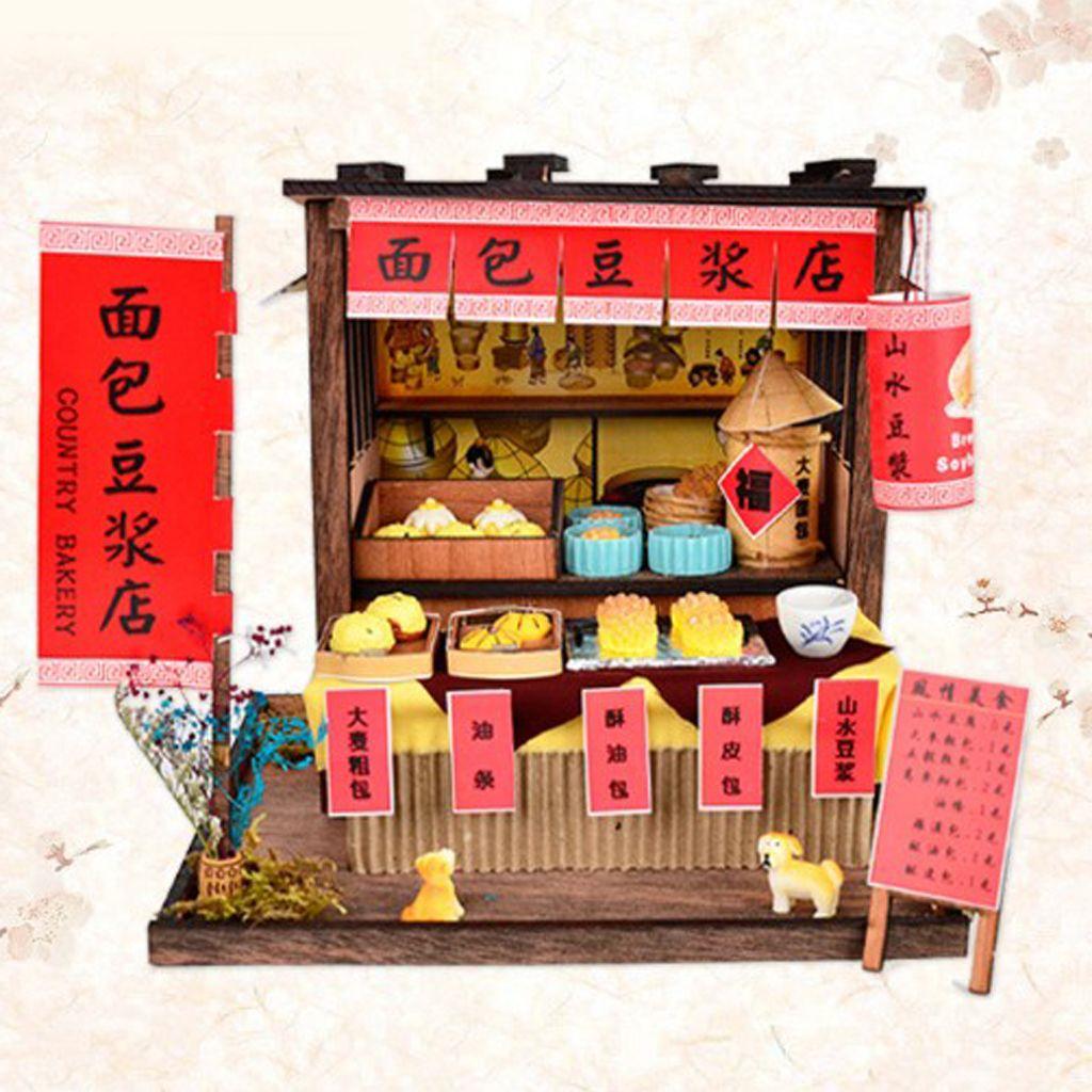 Diy Handcraft Miniature Project Wooden Dolls House Antique Bread Soybean Milk Shop Gift Led Lights Decoration