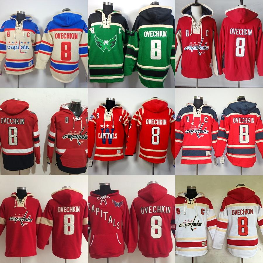 Herren Washington Capitals Custom Hockey Hoodies Beige Grün Rot Weiß 8 Alex Ovechkin 70 Braden Holtby 19 Nicklas Backstrom 77 T.J. Oshie