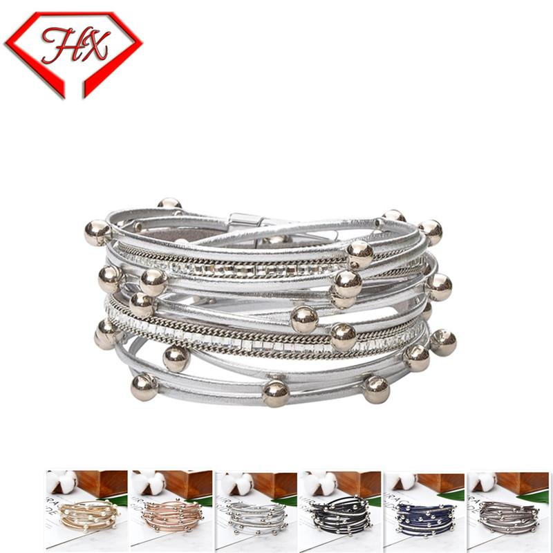 HX Pearl bracelet Bead Multiple Layers Charm Bracelet For Women Men Leather Bracelets & Bangle New Femme Party Jewelry Gift