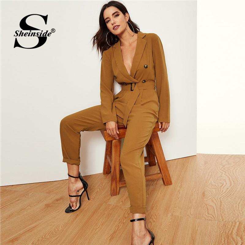 795d7c56c2a 2019 Sheinside Ginger Notched Collar Double Button Wrap Plunging Jumpsuits  For Women Deep V Neck Belted Long Sleeve Blazer Jumpsuit From Armhole