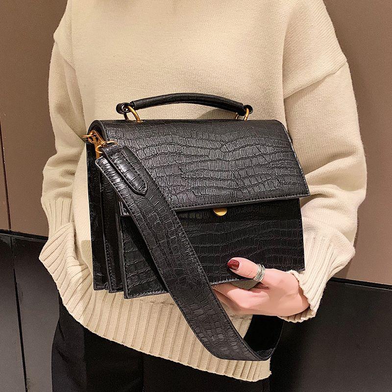Casual Wide Shoulder Strap Crocodile Pattern Women Handbags Fashion ... 80cd9af579