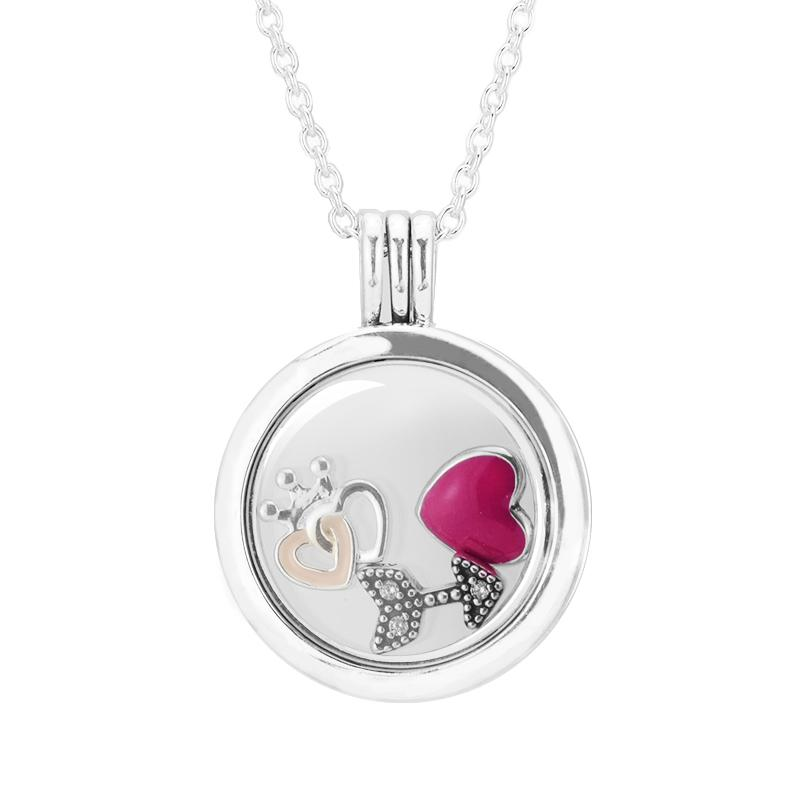 f12102f31129 2019 Medium Size Round Glass Floating Locket WOMEN Necklaces  Amp  Crown  Heart Love Arrow Small Petites DIY 925 Sterling Silver Jewelry From  Youerjerry