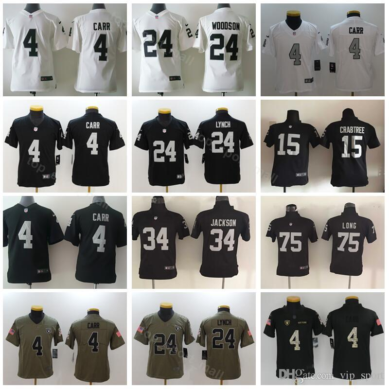 competitive price 5766d 70148 Oakland Football Jersey Youth Raiders Jerseys 4 Derek Carr 24 Marshawn  Lynch 34 Bo Jackson 75 Howie Long Kids Children Black White