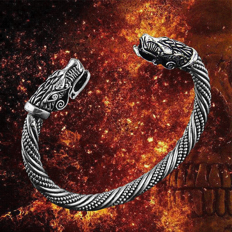 Fashion Vikings Wolf Head Open Bracelet Maxi Men Pagan Bangles Jewelry wholesale Bangles Cheap Bangles