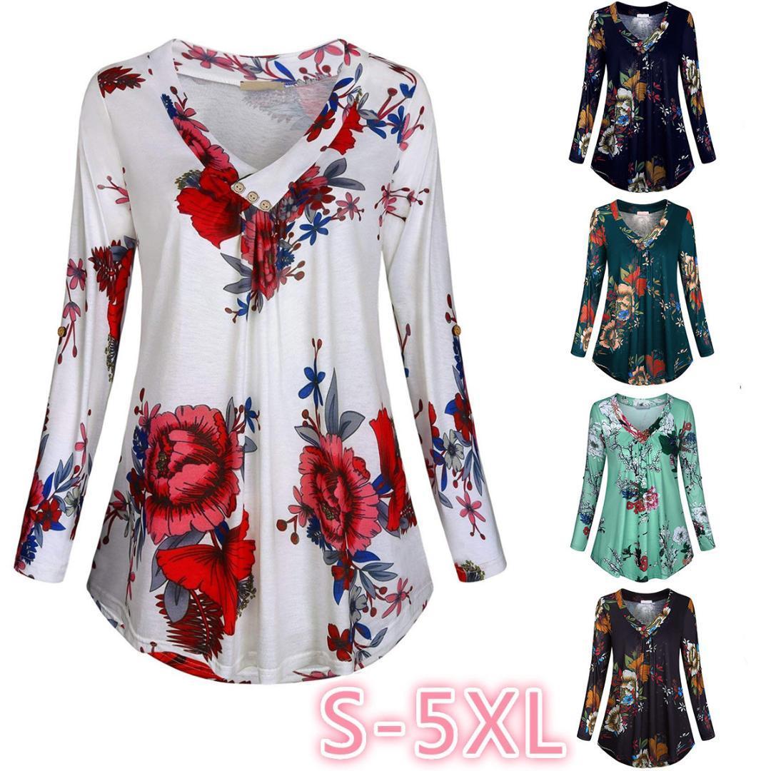 a2df259c87 Compre Floral Imprimir Blusas Com Decote Em V E Tops Com Botão Tamanho  Grande Roupas Femininas 5XL Plus Size Mulheres Túnica Camisa 2019 Outono De  Weskit