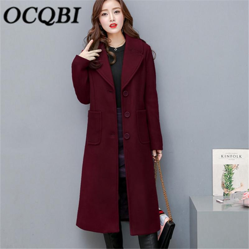 96225f478 Compre 2019 NOVO 2018 Inverno Mulheres Coreanas Longo Casaco De Lã ...
