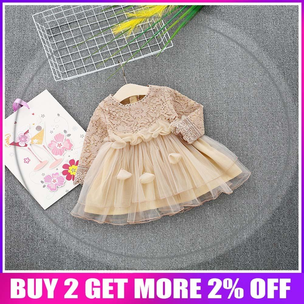 2018 Spring Long Sleeve Mesh Patchwork Lace Baby Wedding Party Girls Kids Princess Fairy Infants Ball Gown Dress Vestidos S6351 Y19061101