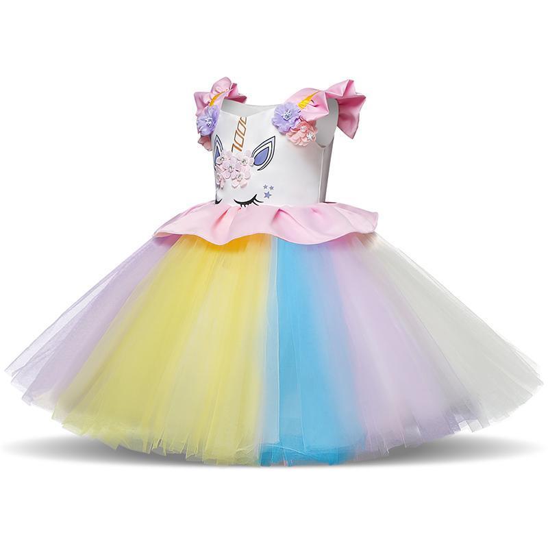 69fda09320e 2019 Fancy Baby Girl Tutu Dress Unicorn Outfits For 1st Birthday Flower  Embroidery Colorful Dresses Rainbow Clothing Vestido Infantil From Hemane