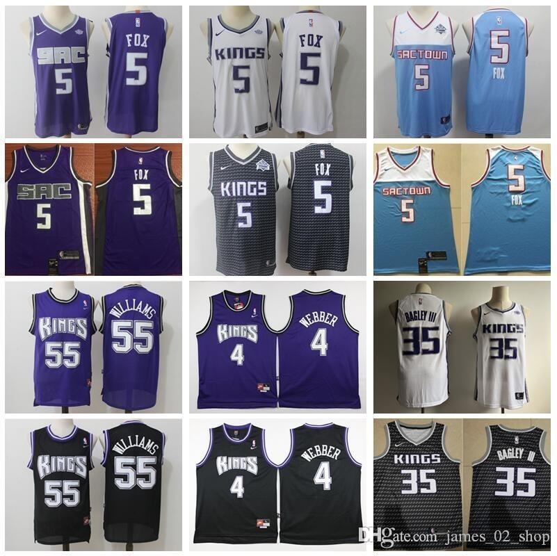 finest selection 716f2 68519 Sacramento Basketball De Aaron DeAaron Fox Jersey 5 Edition City Marvin  Bagley III 35 Jason Williams 55 Chris Webber 4 Purple White Blue