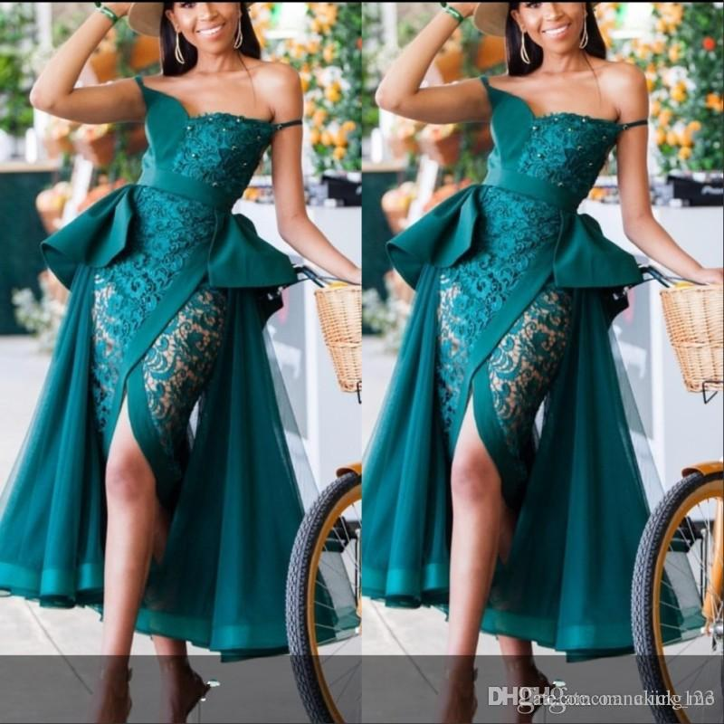 Hunter Green See Through Mermaid Prom Dresses Sexy Peplum Lace Front Split Cocktail Party Dress Beads Pearls Evening Gowns Formal Dress