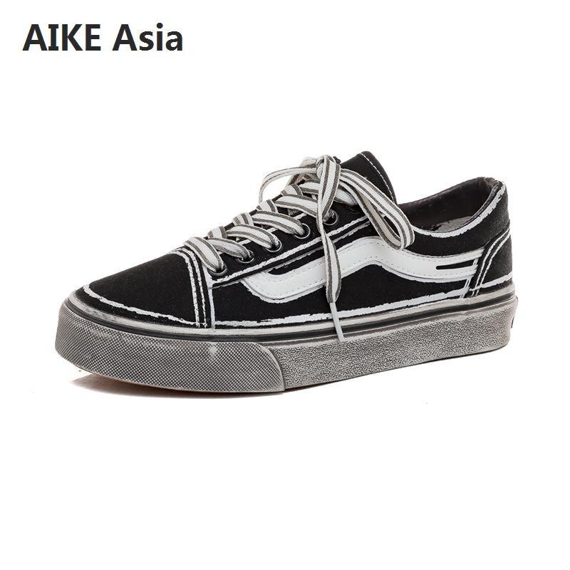 Men's Shoes Aike Asia New Fashion Trend Mens Brand Casual Shoes Low To Help High-end Canvas Shoes Mens Apartment Large Size Fashion Shoes Shoes