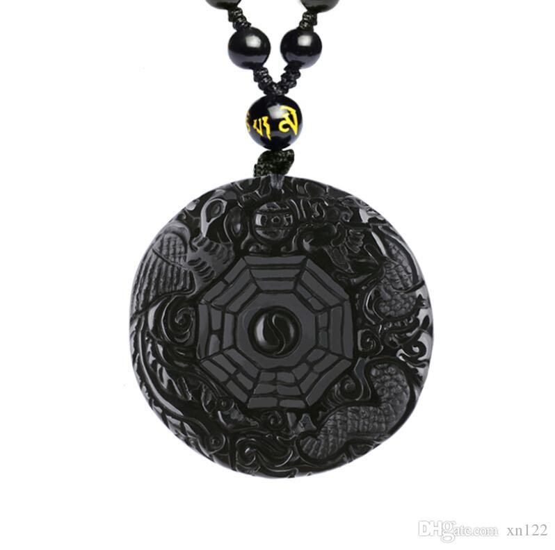 Open natural obsidian dragon and phoenix brand pendant gossip array carved crystal pendant jade pendant necklace