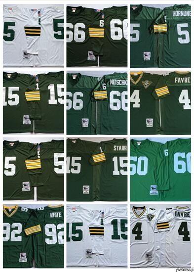 pretty nice 9b7a1 3d487 Throwback Green Bay hot Packers 4 Brett Favre Jersey Football Vintage 15  Bart Starr 66 Ray Nitschke 92 White 5 Paul Hornung Green Long White