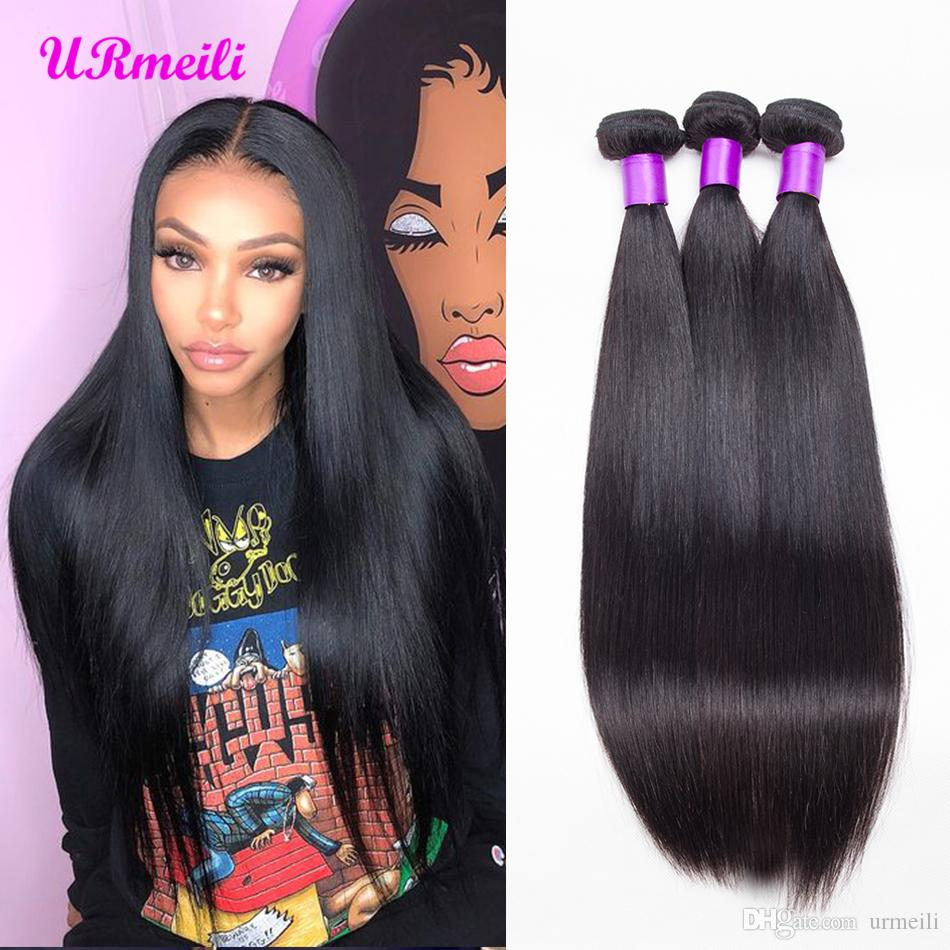 Indian Straight Hair 3/4Bundles Raw Virgin Indian Hair Straight 8-30inch urmeili nice 100% Remy Human Hair Weave Bundles Machine Double Weft
