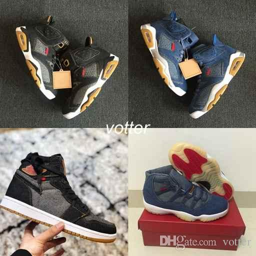 843f9df1f060 Mens Basketball Shoes 4 6 11 13 Denim LS Travis Men Black Blue Jeans 4s 11s  1s 13s Sports Trainers Sneakers Size 7 13 Shoes Jordans Sneakers On Sale  From ...