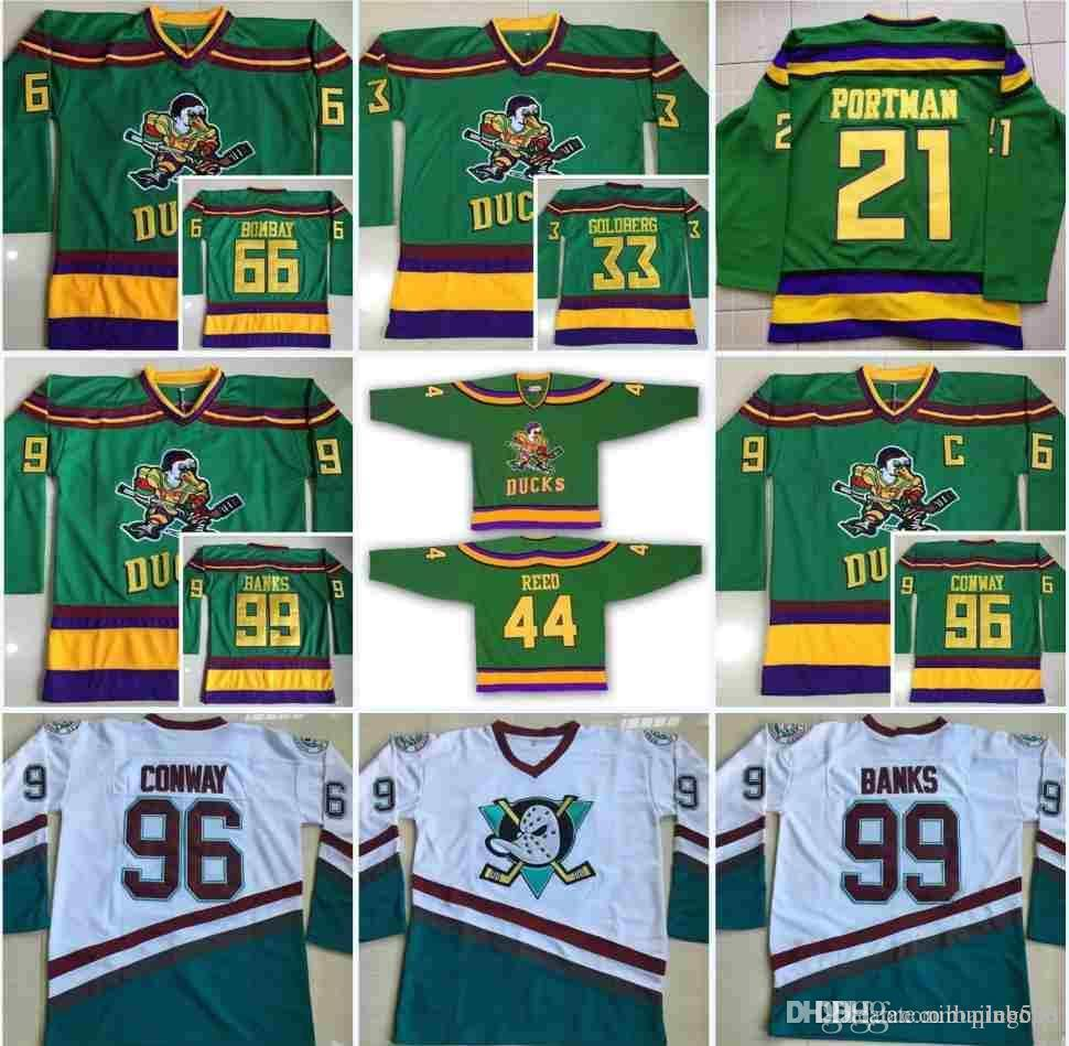 2019 1996 06 Anaheim Mighty Ducks Movie Jersey 33 Greg Goldberg 66 Gordon  Bombay 96 Charlie Conway 99 Adam Banks 21 Dean Portman Hockey Jersey From  Pinbo88 106373e8d
