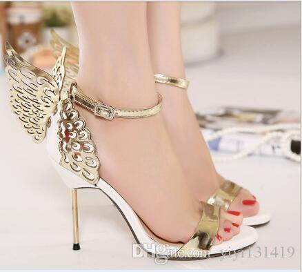 European and American classic beautiful butterfly wings women's shoes open toe fine color matching banquet high heel sandals