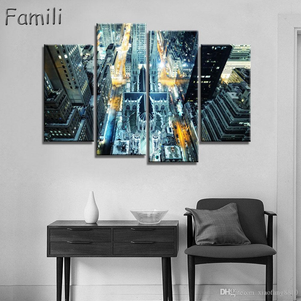4panel high quality New York City landscape Canvas Painting Large Wall Pictures For Living Room Custom no frame Direct Selling