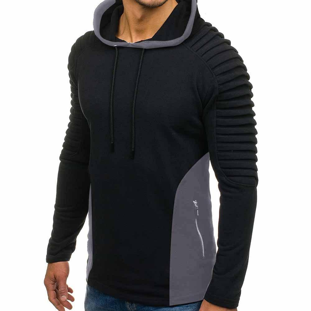 Mens Fashion Draped Hoodies Solid Spring Autumn New Casual Hooded Sweatshirts Pullovers