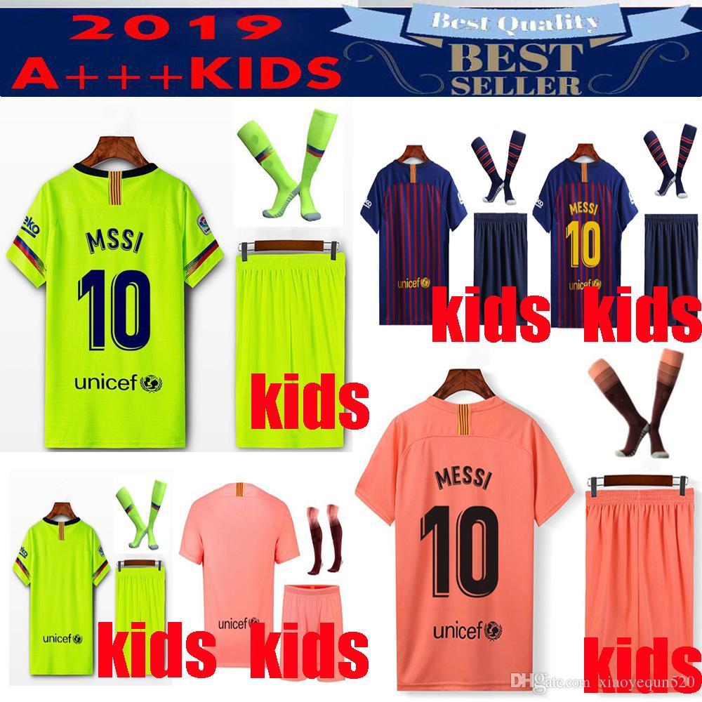 15ef81f6f 2019 19 20 Barcelona MESSI Kids Kit Soccer Jersey 18 19 COUTINHO ...