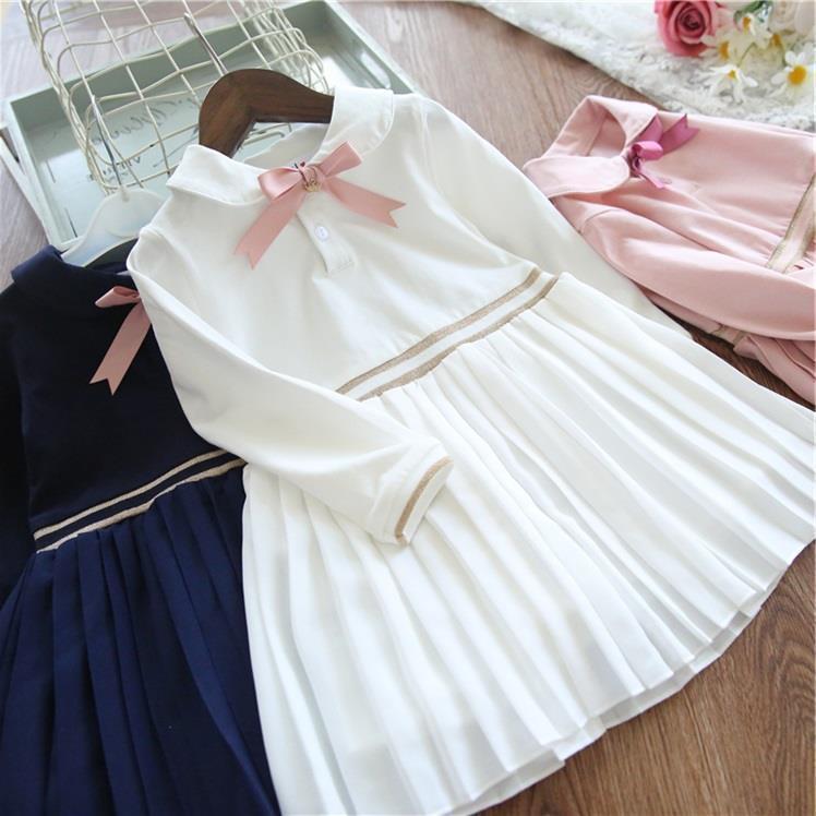 9b2ae81cc184 Acquista Vestito Da Ragazza Di Stile Preppy Vestito Da Ragazza A Maniche  Lunghe Vestito Da Fiocco Bianco Blu Rosa Costumi Di Compleanno Feste  Toddler Baby ...