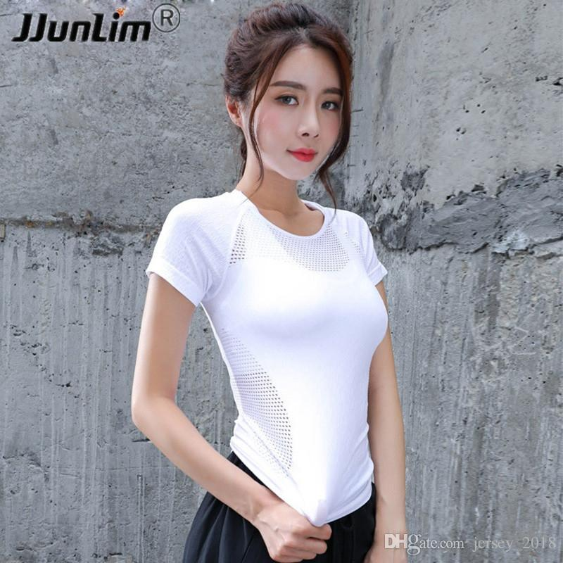 3715f00818 2019 Women Yoga T Shirt Sexy Hollow Out Training Top Dry Fit Fitness Top  Shirts Workout Gym Clothes Female Sport Running Tight Shirt #135320 From ...