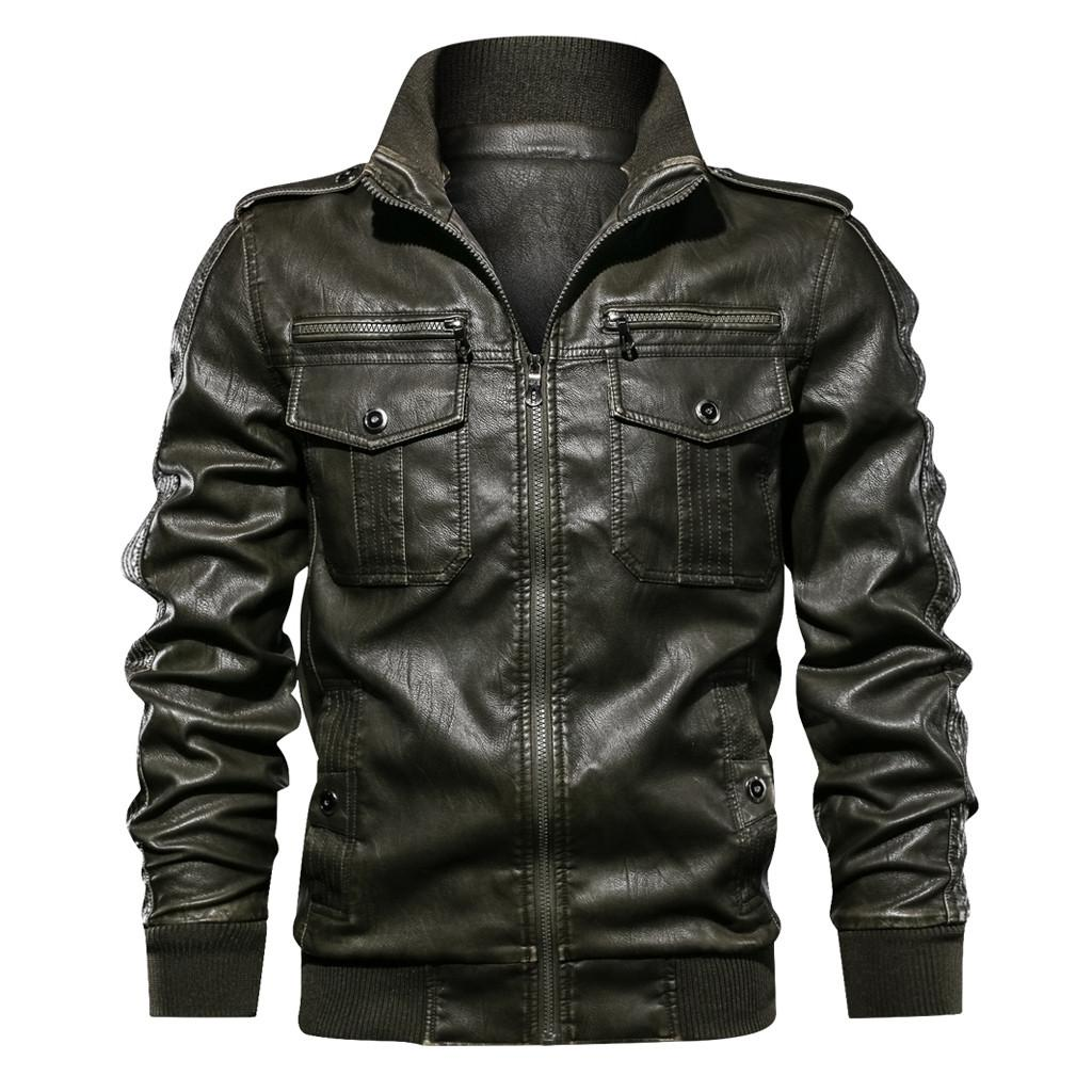 Men Leather Jacket Winter Waterproof Vintage Faux Fur Coats Men Leather Motorcycle Jackets Clothing Gothic Black Jacket Zipper