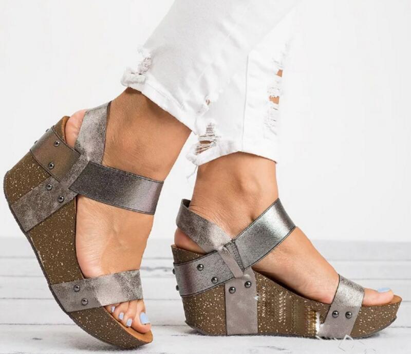 Compre Pop 2019 Mujeres Sandalias Plataforma Tacones Chaussure Señoras  Verano Peep Toe Zapatos Zapatos Mujer Mujer Cuña Calzado Vintage Slip On A   64.79 Del ... 8d57ceeb4448