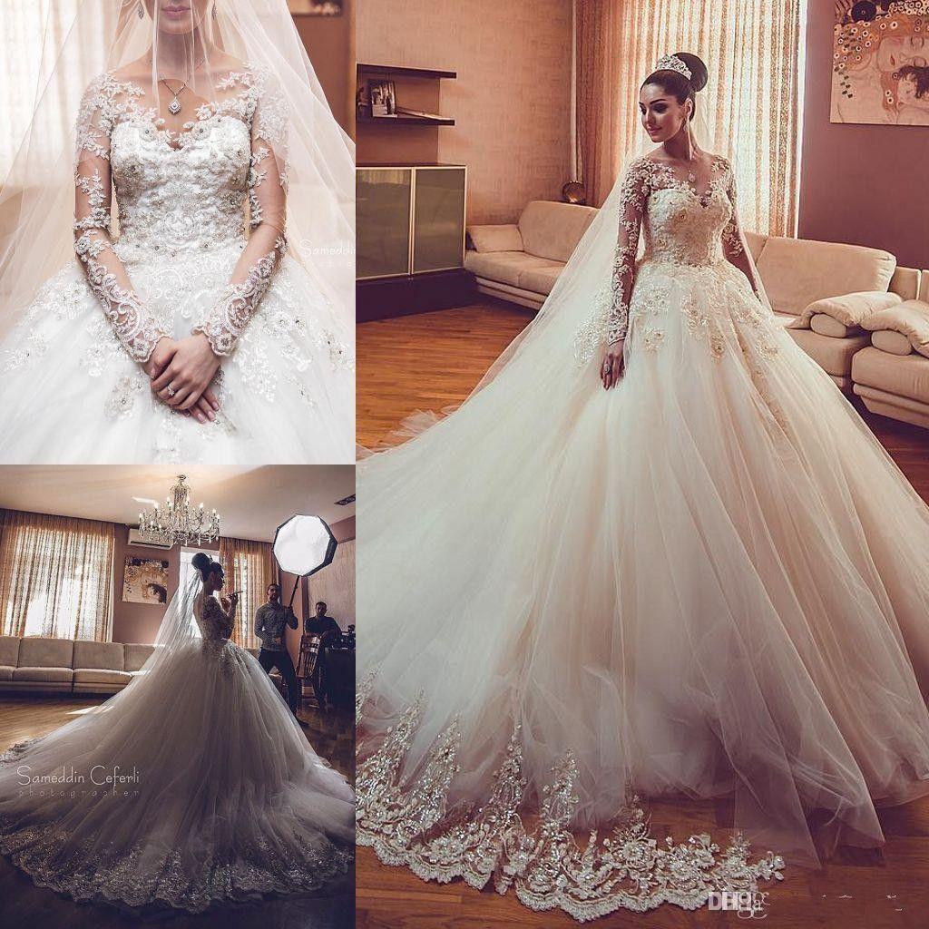 022329324ed Discount New Design Long Sleeves V Neck Wedding Dresses 2019 Arabic Vestios  De Novia Luxury Lace Applique Beads Elegant Bridal Gowns With Court Train  Bridal ...