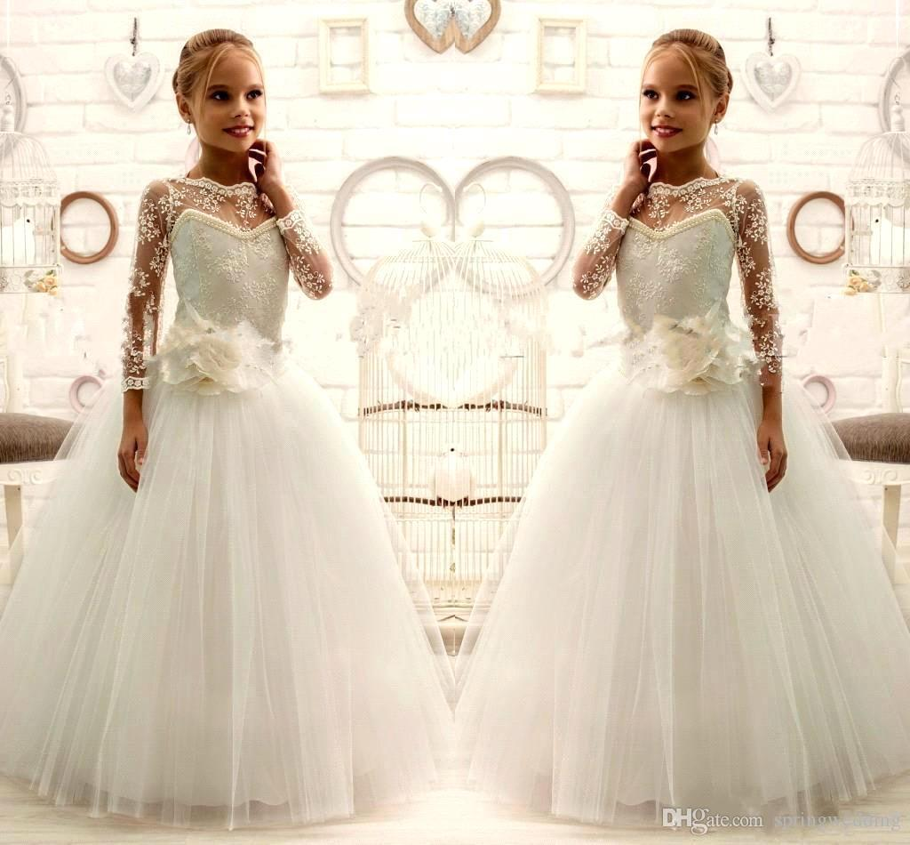 744e7ffedc7 2016 New Cute Flower Girls Dresses Princess Long Sleeves Pearl Flowers Lace  First Communion Party Little Girls Pageant Party Dress Flower Girl Dress  Shops ...