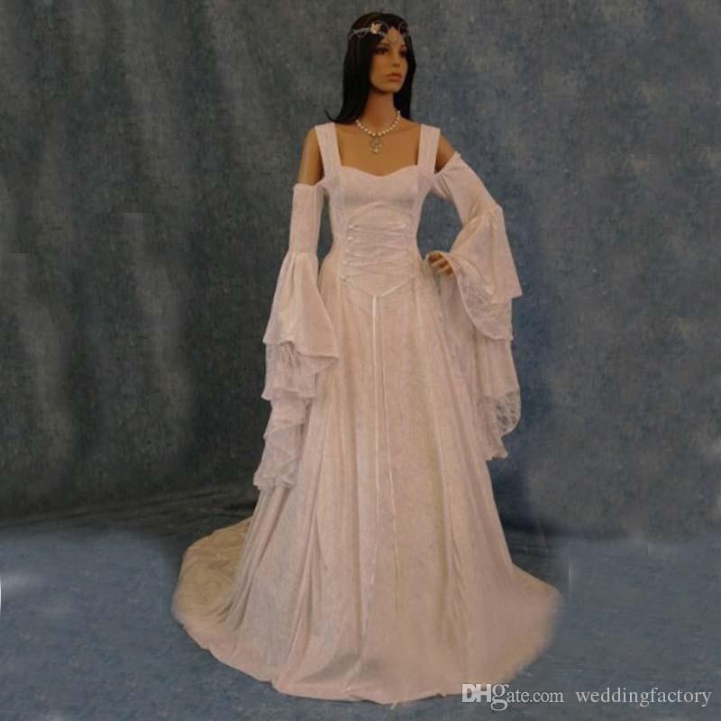 Irish Wedding Dress.2019 Vintage Lace Celtic Wedding Dresses A Line Long Sleeves Corset Gothic Bridal Gowns Custom Made