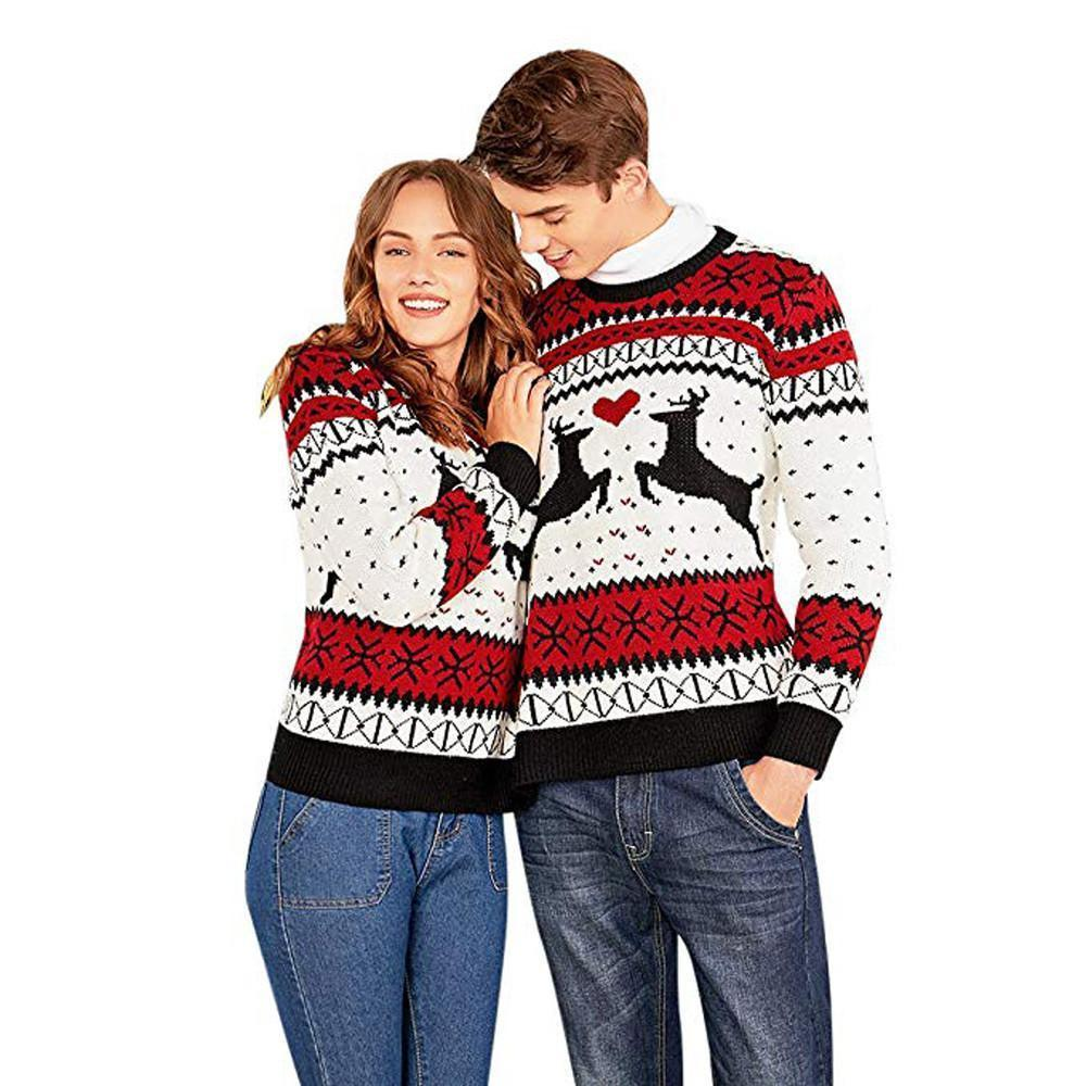 2 Person Christmas Sweater.2019 Autumn Winter Sweater For Women Two Person Ugly Sweater Xmas Couples Pullover Novelty Christmas Blouse Top