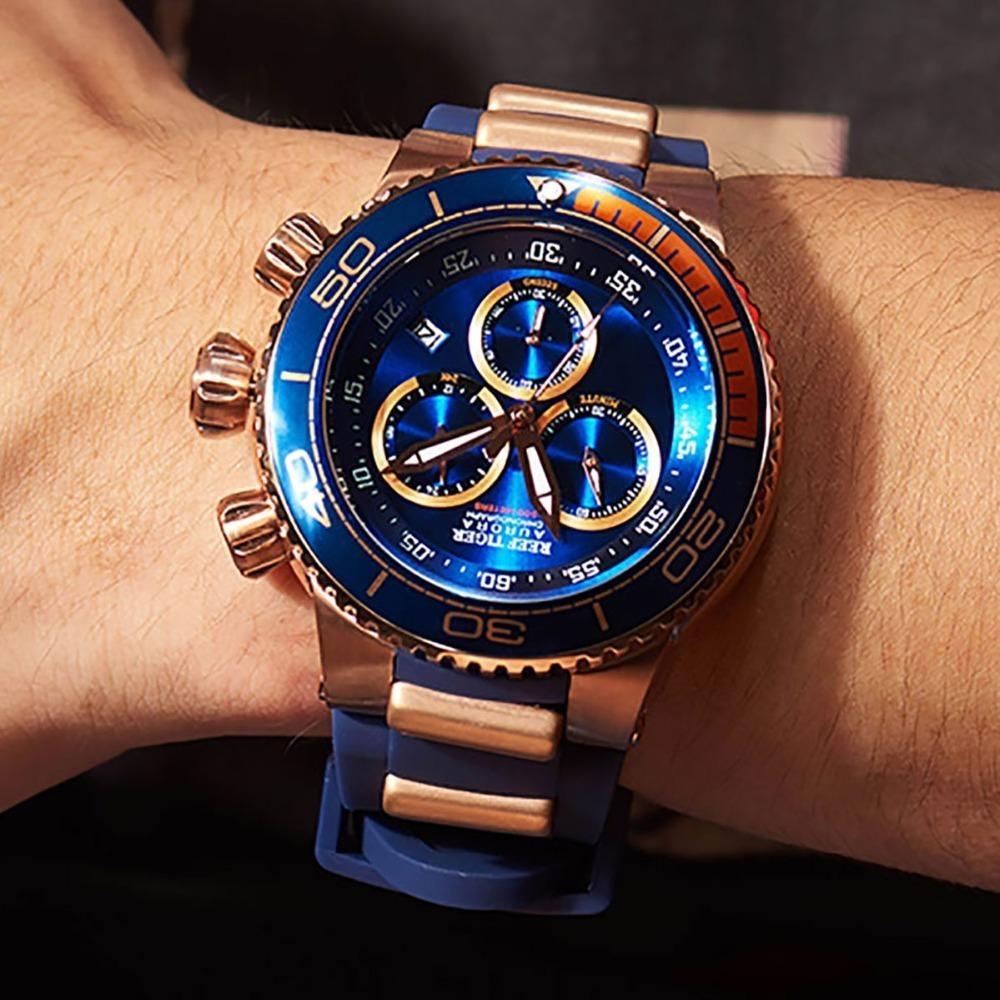 8114873fa6a Compre Reef Tiger   Rt Top Marca De Luxo Relógio Do Esporte Azul Para Os  Homens De Ouro Rosa Relógios À Prova D  Água Pulseira De Borracha Relogio  Masculino ...