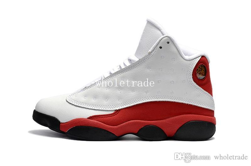 new style 32ed2 25311 13 White Red Basketball Shoes Mens 13s White Red-Black Sneakers Size US 8-13