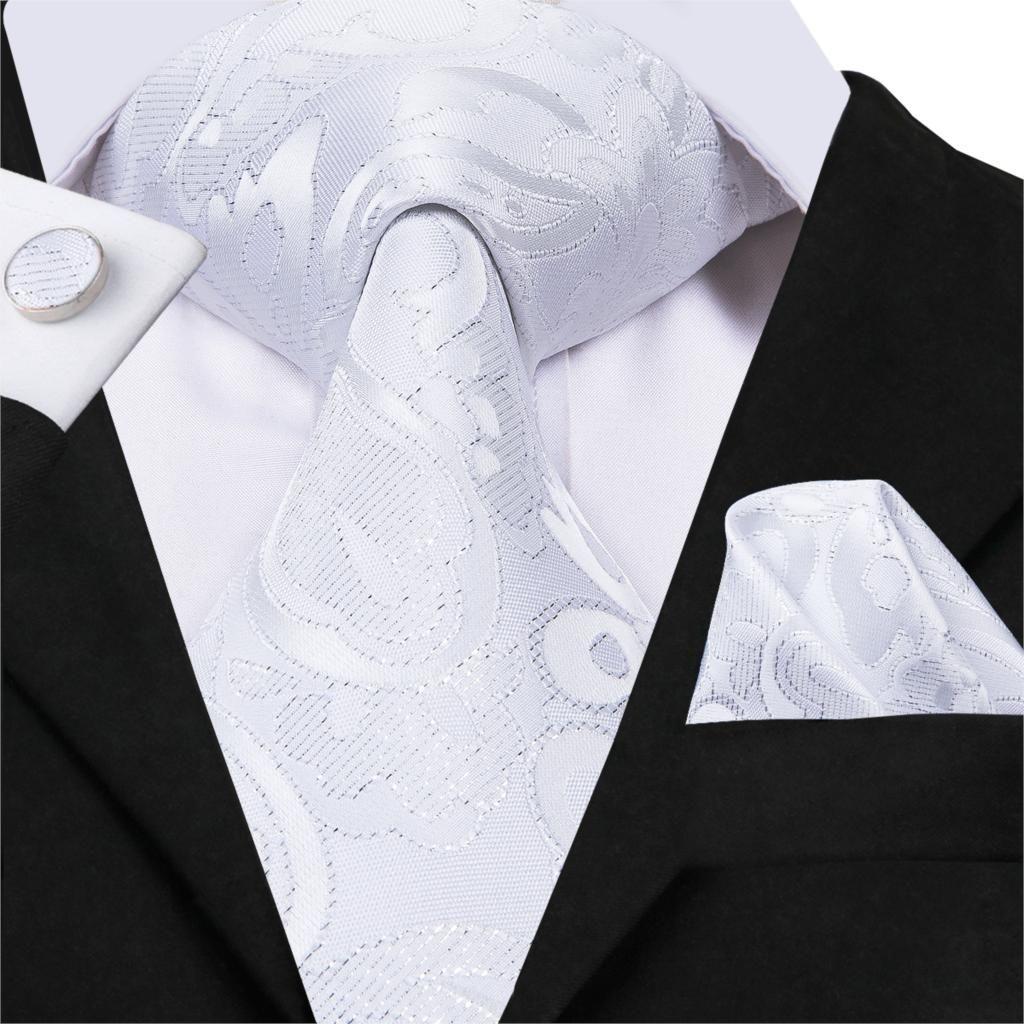 62d6a375b9e0 Hi-Tie White Neckties Silk Top Quality Fashion Design Casual Style Men's  Ties Pocket Square Cufflinks Set Suit Wedding Party