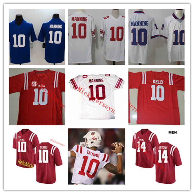 pretty nice 5c313 485de Mens NCAA Ole Miss Rebels Eli Manning college Football Jerseys Stitched #14  DK. Metcalf #10 Chad Kelly Ole Miss Rebels Jerseys S-3XL