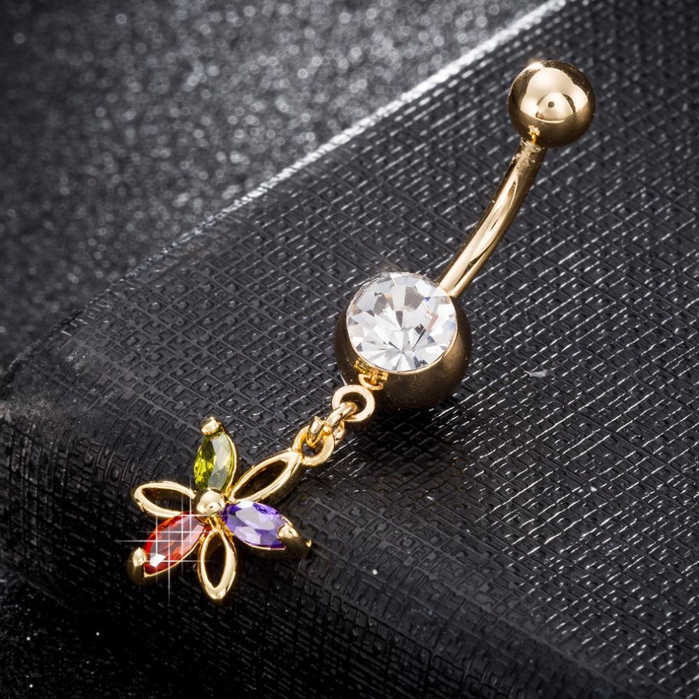 pétalo de color Zircon sexy Crystal Dangle Chain color oro Anillos piercing en el ombligo Anillos para ombligo Joyería de acero quirúrgico para el cuerpo