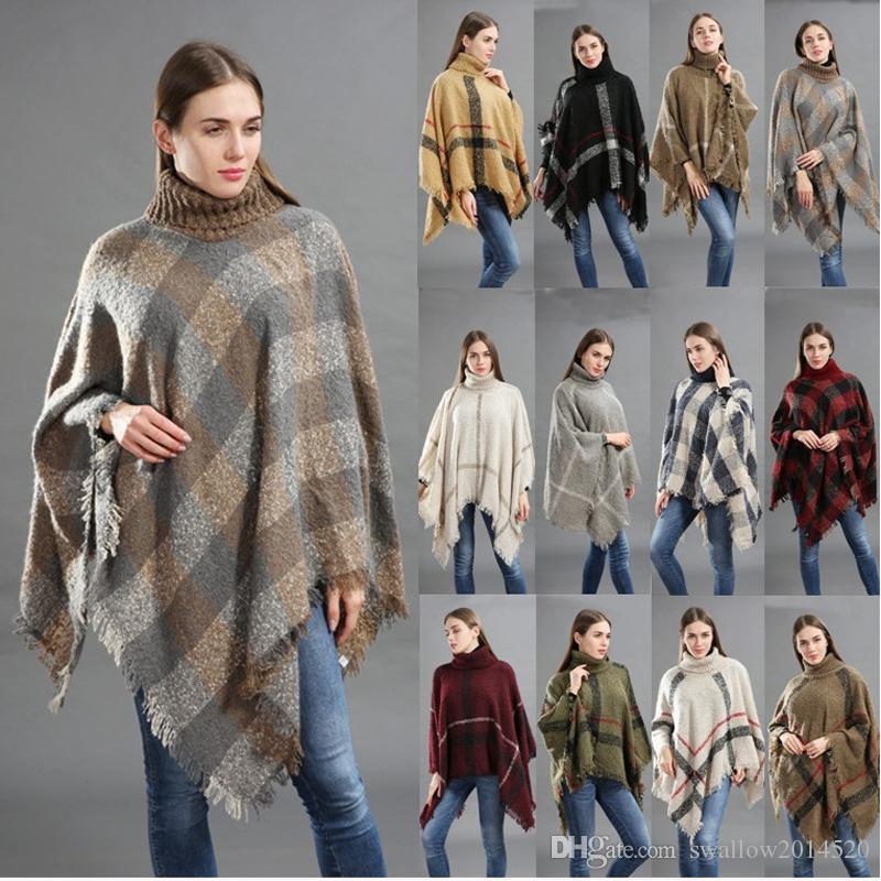 a949757bd8 Compre Xadrez Clássico Manto Gola Alta Xale Poncho Outono Inverno Mulher  Meninas Grandes Moda Loose Xadrez Xale Morcego 15 Cores De Swallow2014520