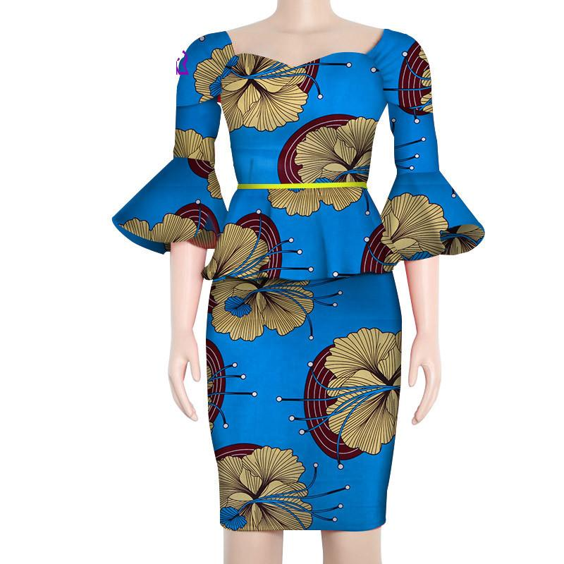ce33d9ee74 2019 African Clothes For Women Flare Sleeve Tops And Short Skirts Prom  Ankara Dresses Skirt Set Bazin Dress From Caraa, $89.76 | DHgate.Com