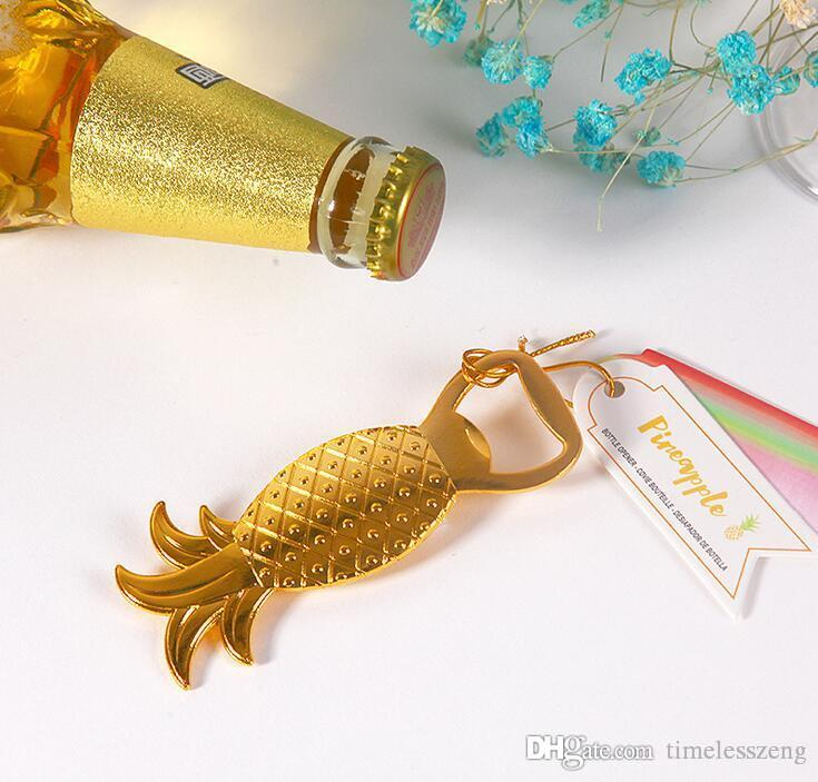 2016 new wedding gift golden alloy beer bottle opener Pineapple bottle opener A bright and colorful bride and groom souvenir