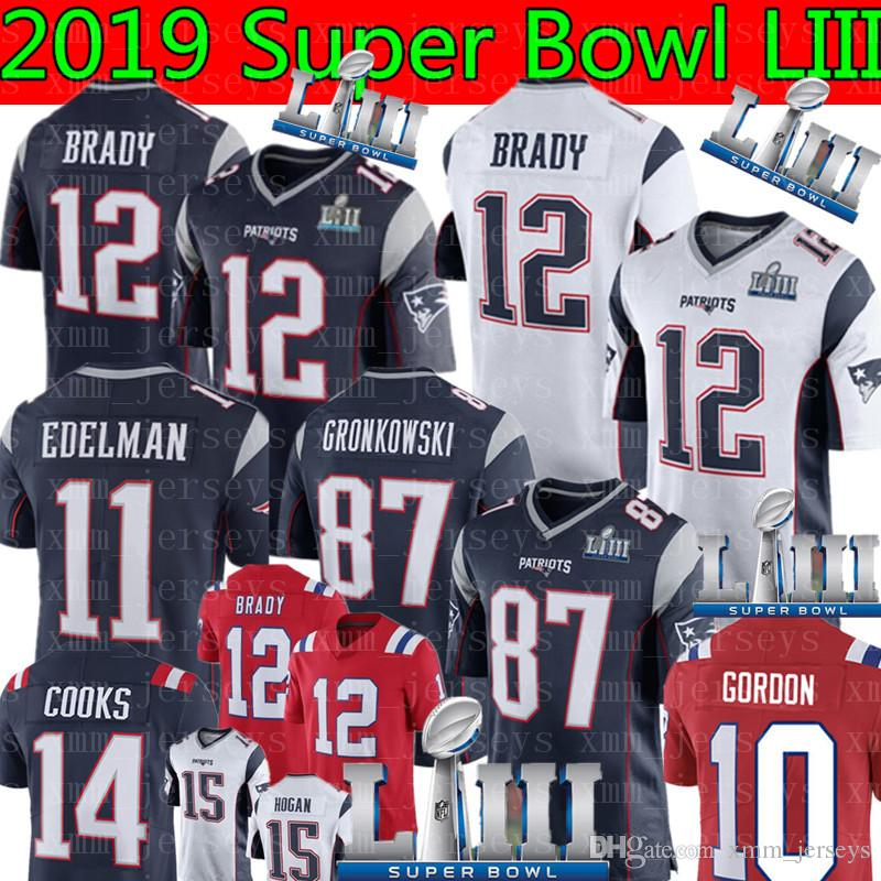 167965bd3 Acheter Maillot 12 Nouveaux Patriotes Tom Brady 87 Rob Gronkowski 11 Julian  Edelman 10 Josh Gordon 14 Cooks 15 Hogan 92 Harrison 2019 Super Bowl LIII  De ...