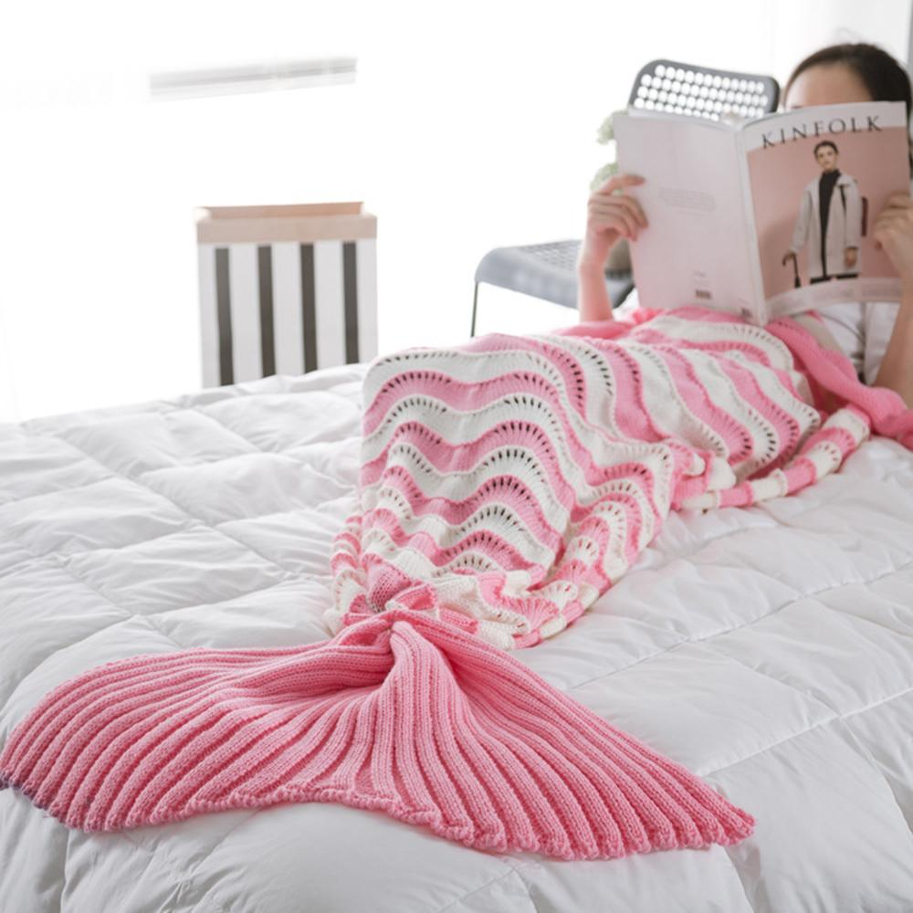 1PC Mermaid Tail Blanket Yarn Knitted Crochet Mermaid Striped Blanket For Adults Kids Throw Bed Wrap Super Soft Sleeping Bedding